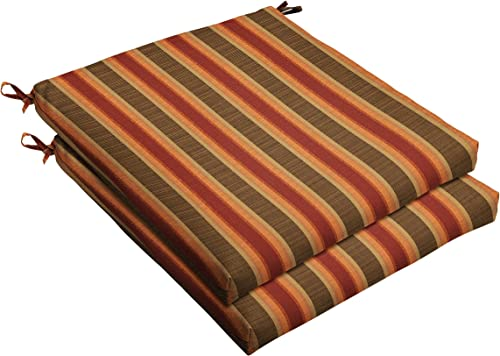 Mozaic AMCS105498 Indoor or Outdoor Sunbrella Square Chair Seat Cushions Set, Set of 2, 19 x 19 x 2.5, Brown Red Stripes