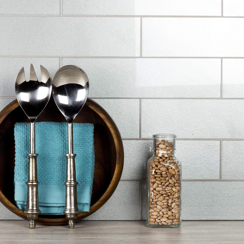 Abolos 3 x 12 Eternal Silver Straight Edge Glass Subway Backsplash Tile