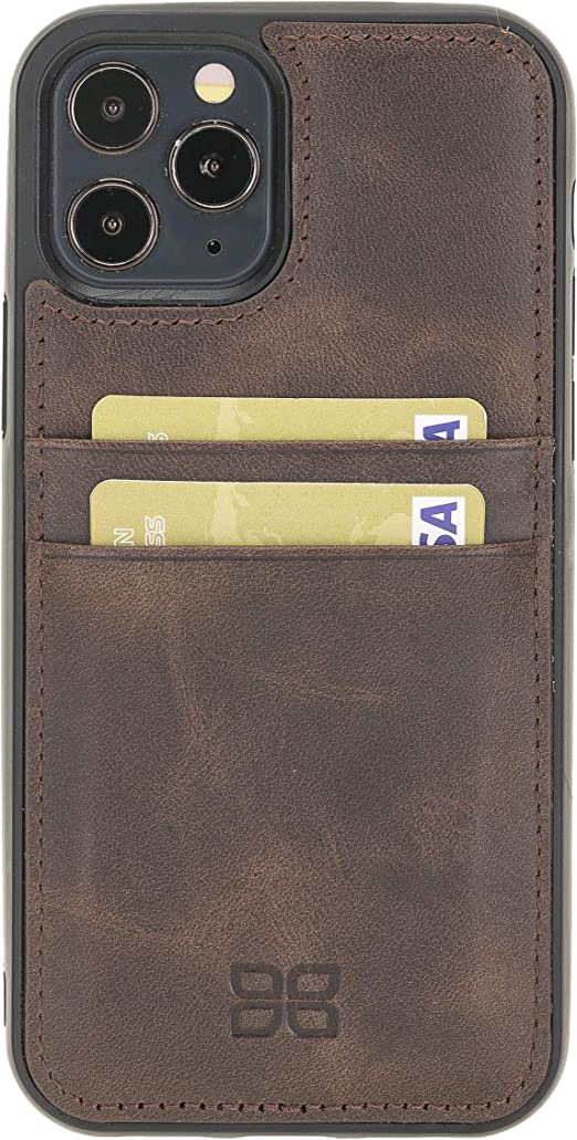 Apple iPhone XXS Handmade Tan Genuine Leather Full Protective Back Cover Phone Case with Credit Card Slots by BoulettaCase