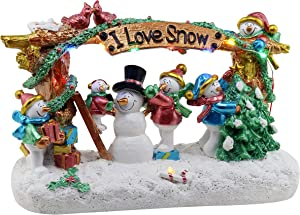 Christmas Village Building A Snowman | Pre-lit Tabletop Snow Village | Perfect addition to your Christmas Indoor Decorations & Christmas Village Displays