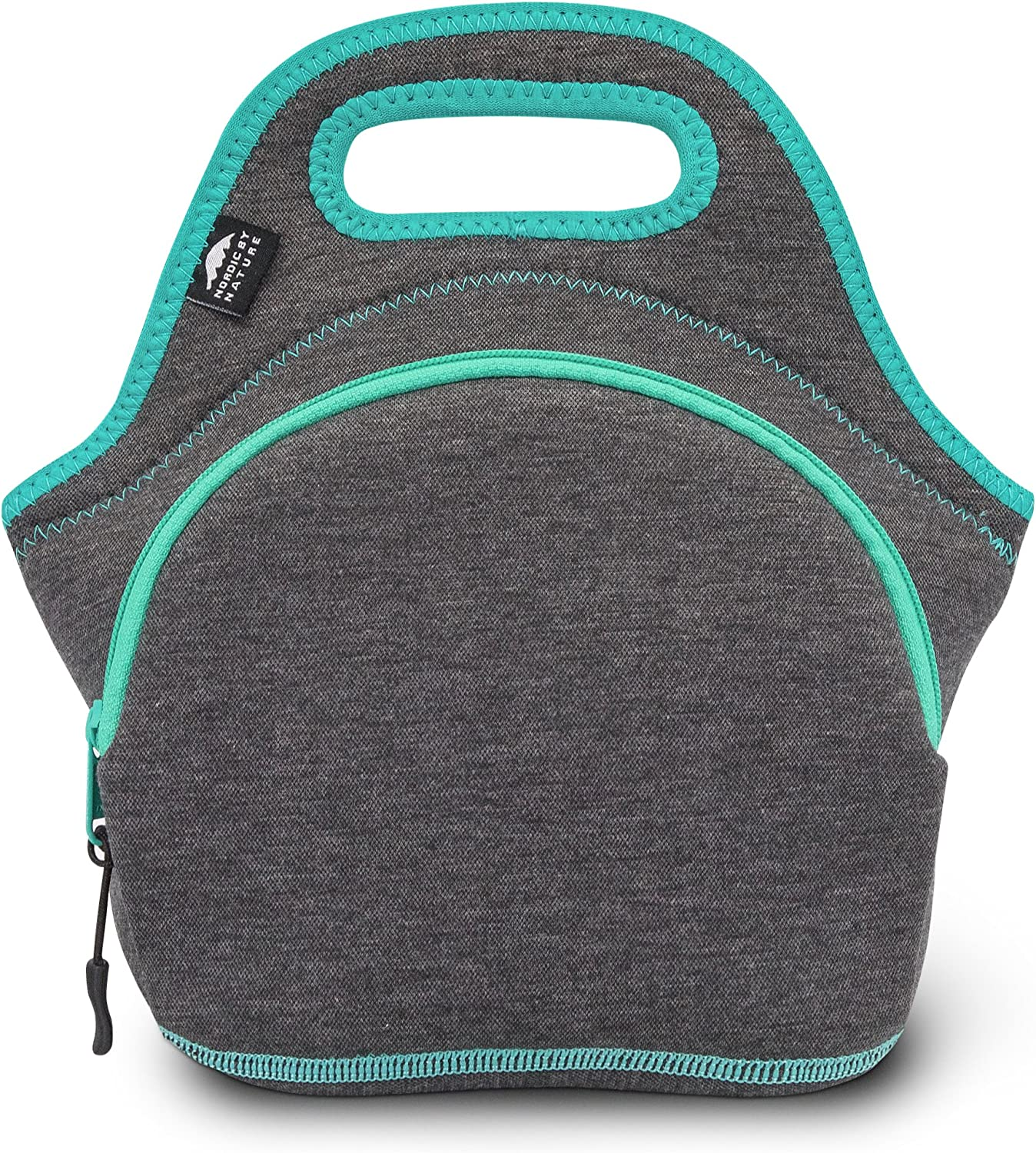 Nordic By Nature Neoprene Lunch Bag for Women & Lunch Tote for Kids Insulated Lunch Bag Reusable Washable Thick Neoprene & Soft Cotton Feel, Premium Stitching, Outside Pocket, (M) Dark Gray/Lagoon