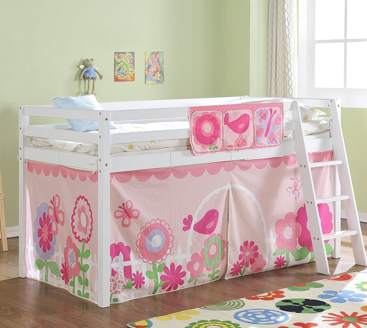 Noa And Nani Cabin Bed Mid Sleeper In White With Tent FLORAL 578WG Amazoncouk Kitchen Home