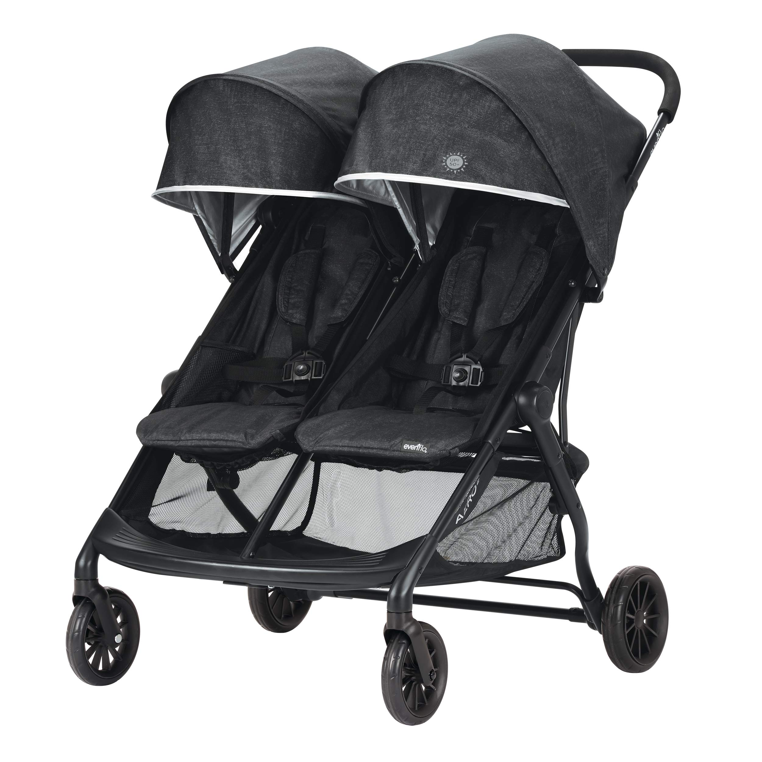 Evenflo Aero2 Ultra-Lightweight Double Strollers, Compact, Self-Standing Folding Design, Shopping Basket Single-Child Mode, Seatback Storage Pocket, 2 Mesh In-Seat Pockets, 50-lb Per Seat, Osprey Gray by Evenflo