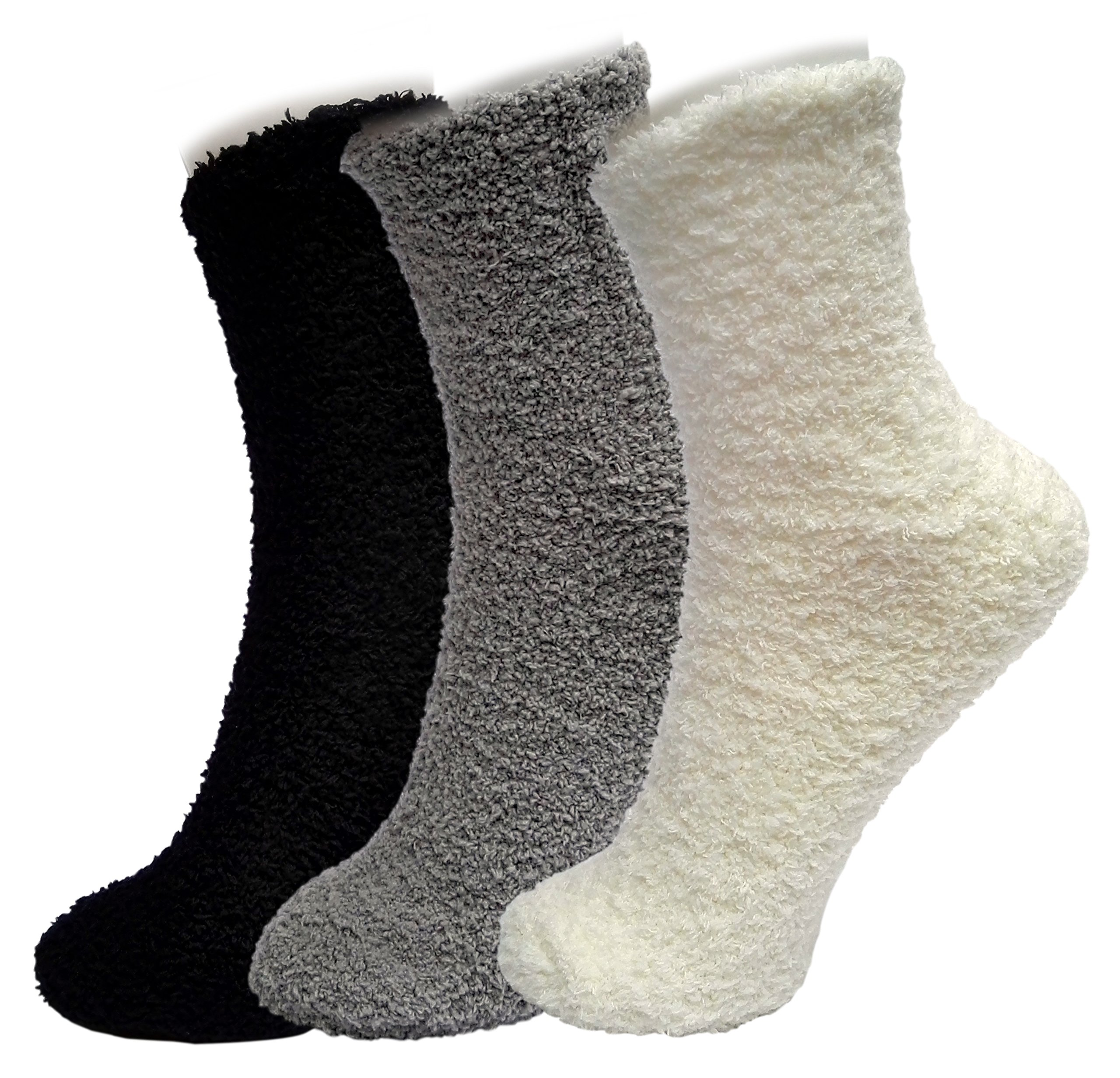 ELLITE Styles Premium Soft Warm Microfiber Crew Socks, 3 pair ,white, grey, black ,Soild, One Size(Fits Shoe Size: 6-9 & Sock Size: 9-11)