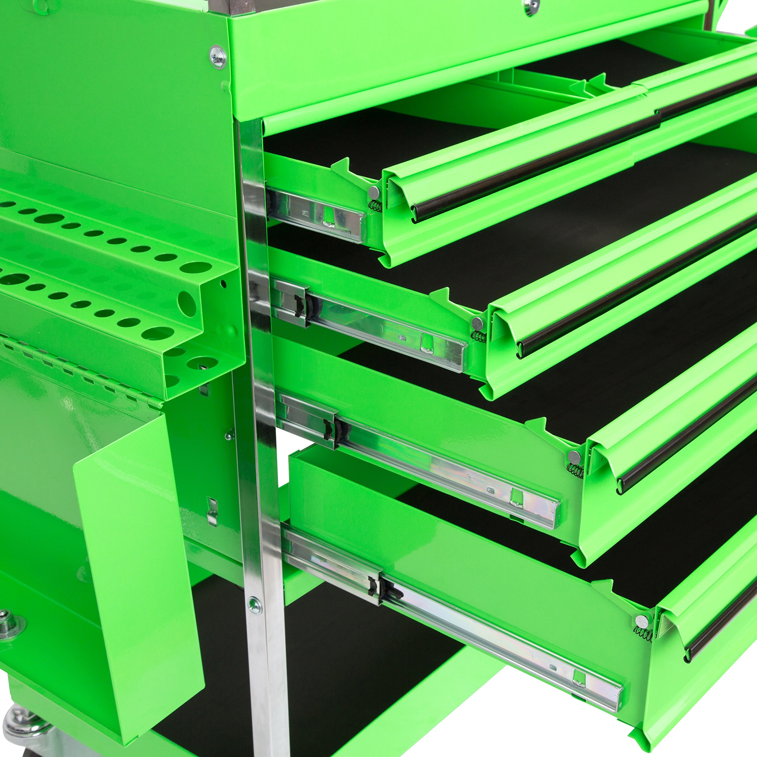 Professional Service Cart - 5 Drawer and 1 Tray (Green) by OEMTOOLS (Image #5)