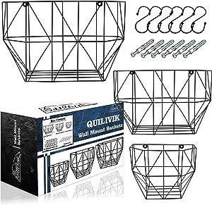 Wire Basket For Storage| Metal Fruit Basket with Hooks & Screws|Wall Storage Metal Basket For Storing Fruits, Vegetables,etc