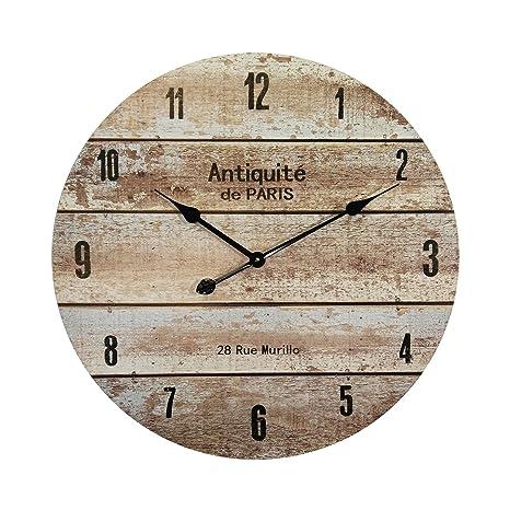 Rebecca Mobili Reloj Mural Reloj Grande Decoración Pared MDF Estilo Vintage Redondo Diámetro 60 cm -