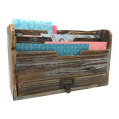 Farmhouse Decor Decorative Desk Organizer 3 Tier Mail Sorter Rustic Wood Distressed Finish