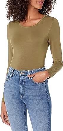 The Drop Hannah Camiseta de manga larga de cuello redondo ajustada para Mujer