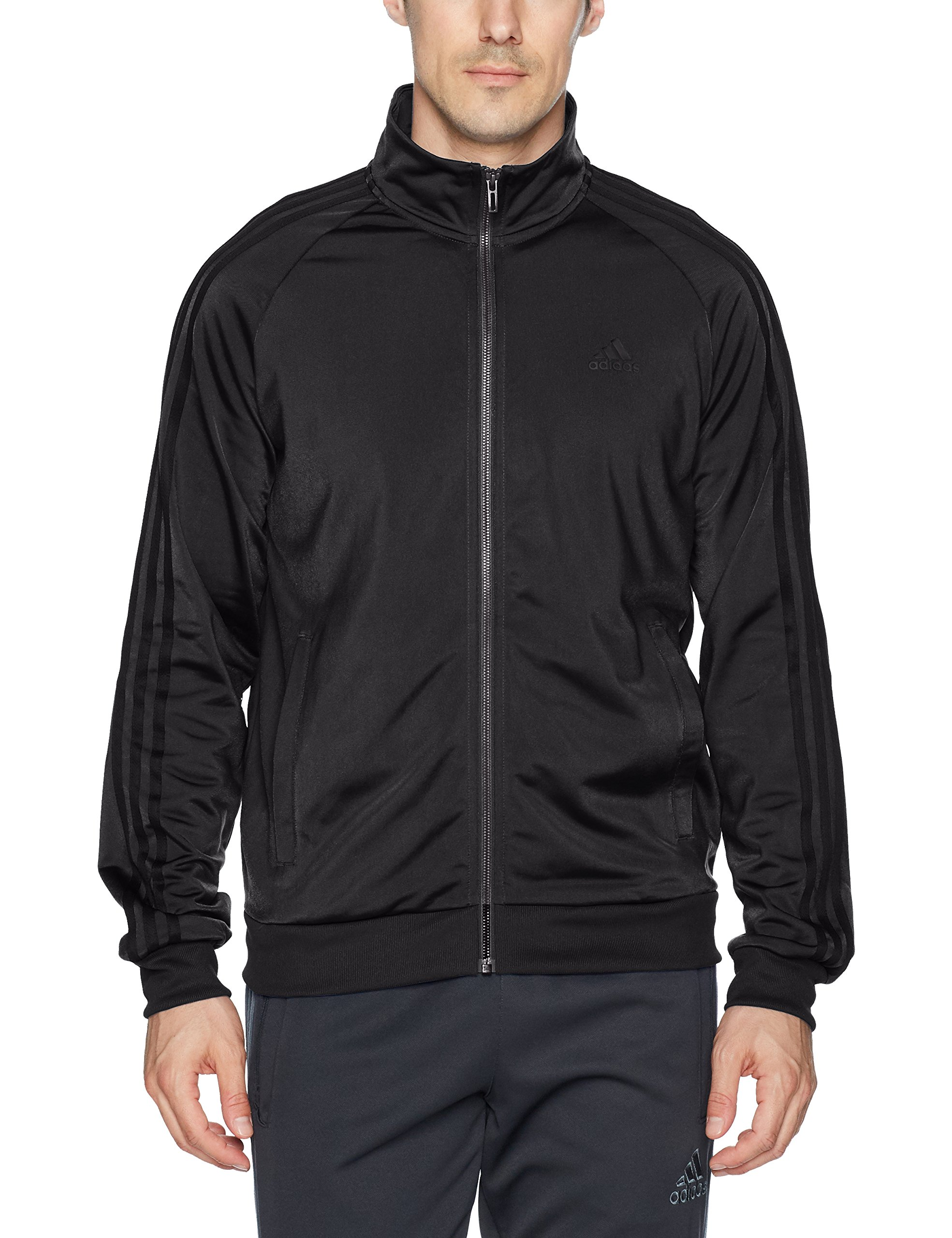 adidas Men's Essentials 3-Stripe Tricot Track Jacket, Black/Black, XX-Large by adidas