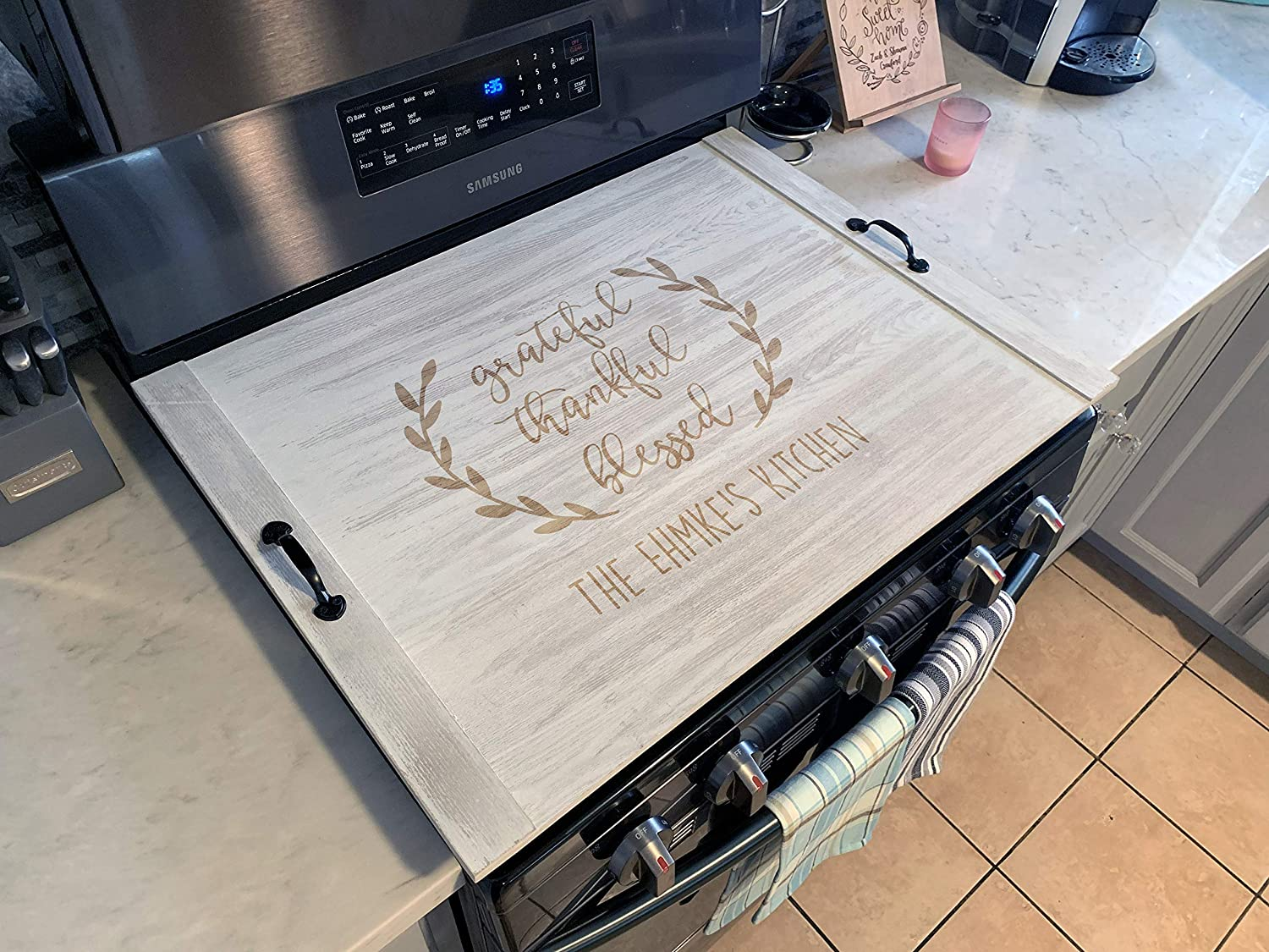 Grateful Thankful Blessed Home Decor Personalized Stove Top Cover Noodle Board 21205-TRAY-052