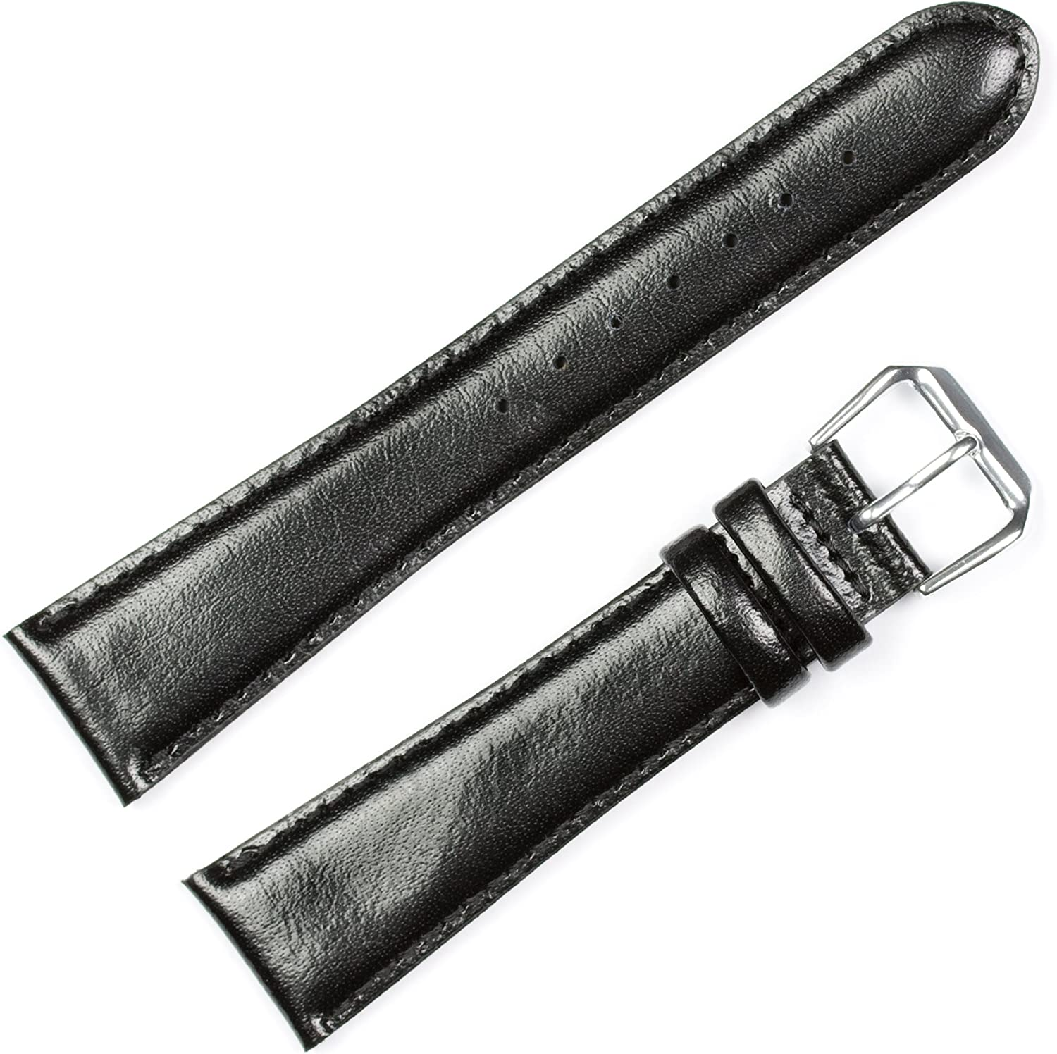 Smooth Leather Watchband Black 17mm Watch Band - by deBeer