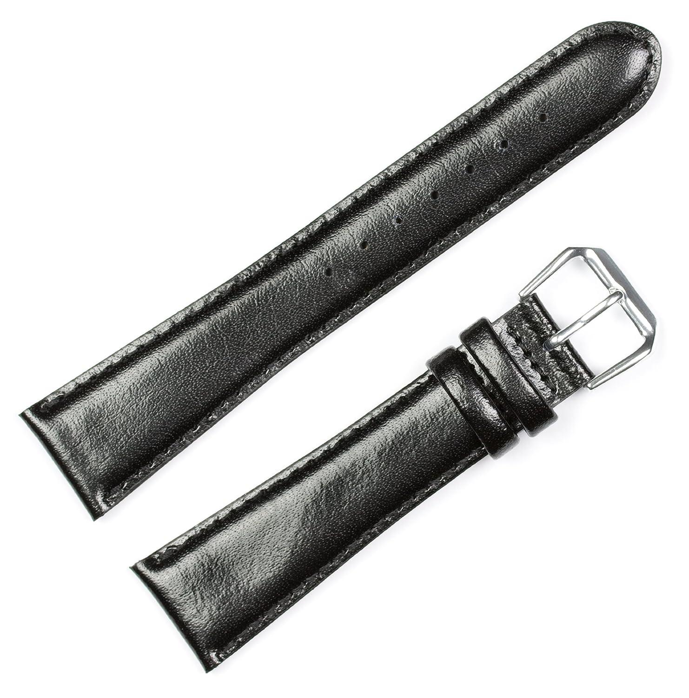deBeerスムース本革メンズ時計バンド/ストラップ|複数色使用可能|サイズ6 mmから22 mm 18mm ブラック B00KEIN16S 18mm|ブラック ブラック 18mm
