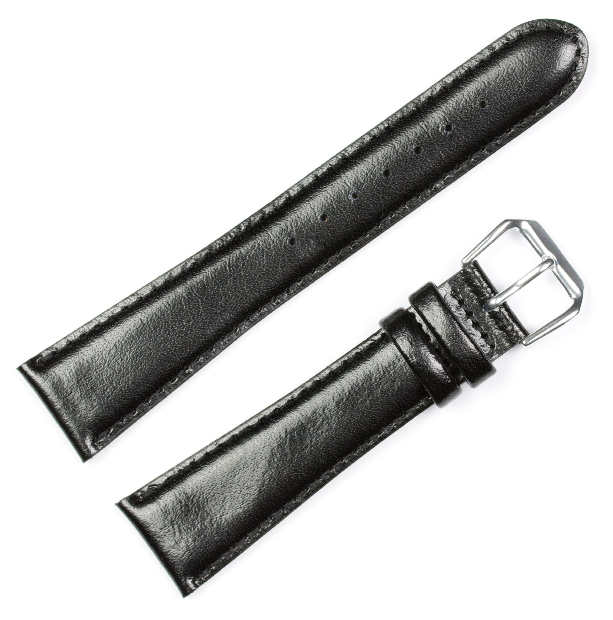 Smooth Leather Watchband Black 16mm Long Watch band - by deBeer