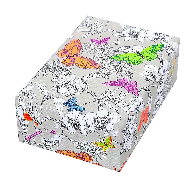 Motiv Tropica,modern exotisches Tukan-Blumen-Design mit gr/ün-matter R/ückseite Frauen. F/ür Geburtstag Geschenkpapier Rolle 50 cm x 50 m
