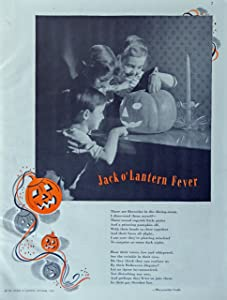 Jack O'Lantern Fever, 30's Print. Color Illustration (by Marquerite Gode) authentic original vintage 1939 Better Homes and Gardens Magazine Art