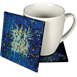 Angelstar 19047 Handmade and Hand-Painted Glass Blue Ocean Coasters, 4-Inch, Set of 4