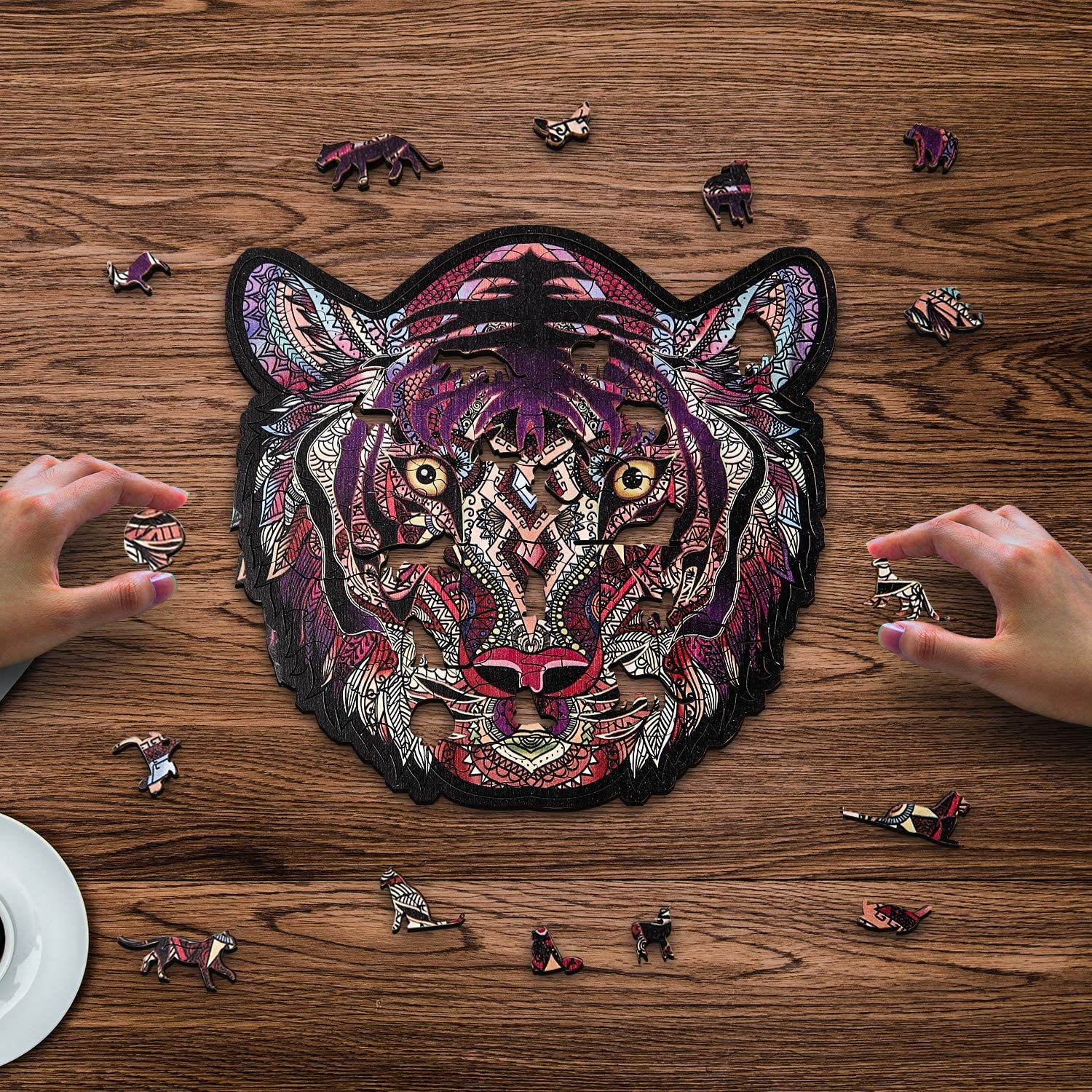 Tiger Creative Gifts for Kids Family Game Play Collection with Wooden Storage Box 7.087.48 Milestar Wooden Jigsaw Puzzles for Adults Unique Animal Shaped Puzzles 168 Pieces