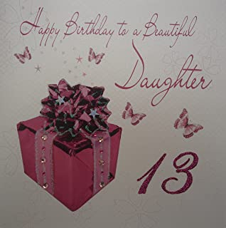 WHITE COTTON CARDS Large Pink Present Design Daughter 13th Birthday Handmade Card