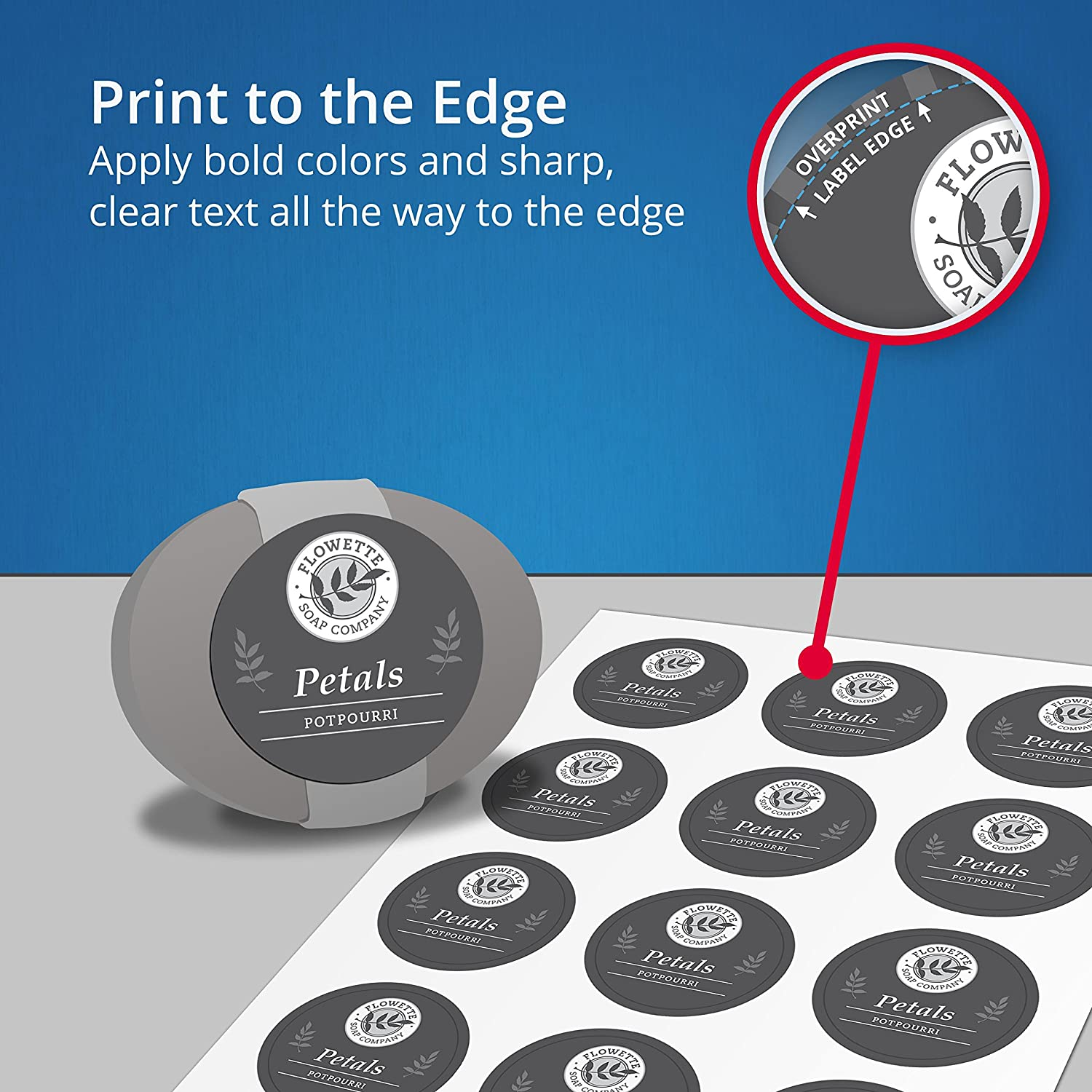 Avery Print-to-the-Edge Square Labels, Kraft Brown, 2 x 2 Inches ...