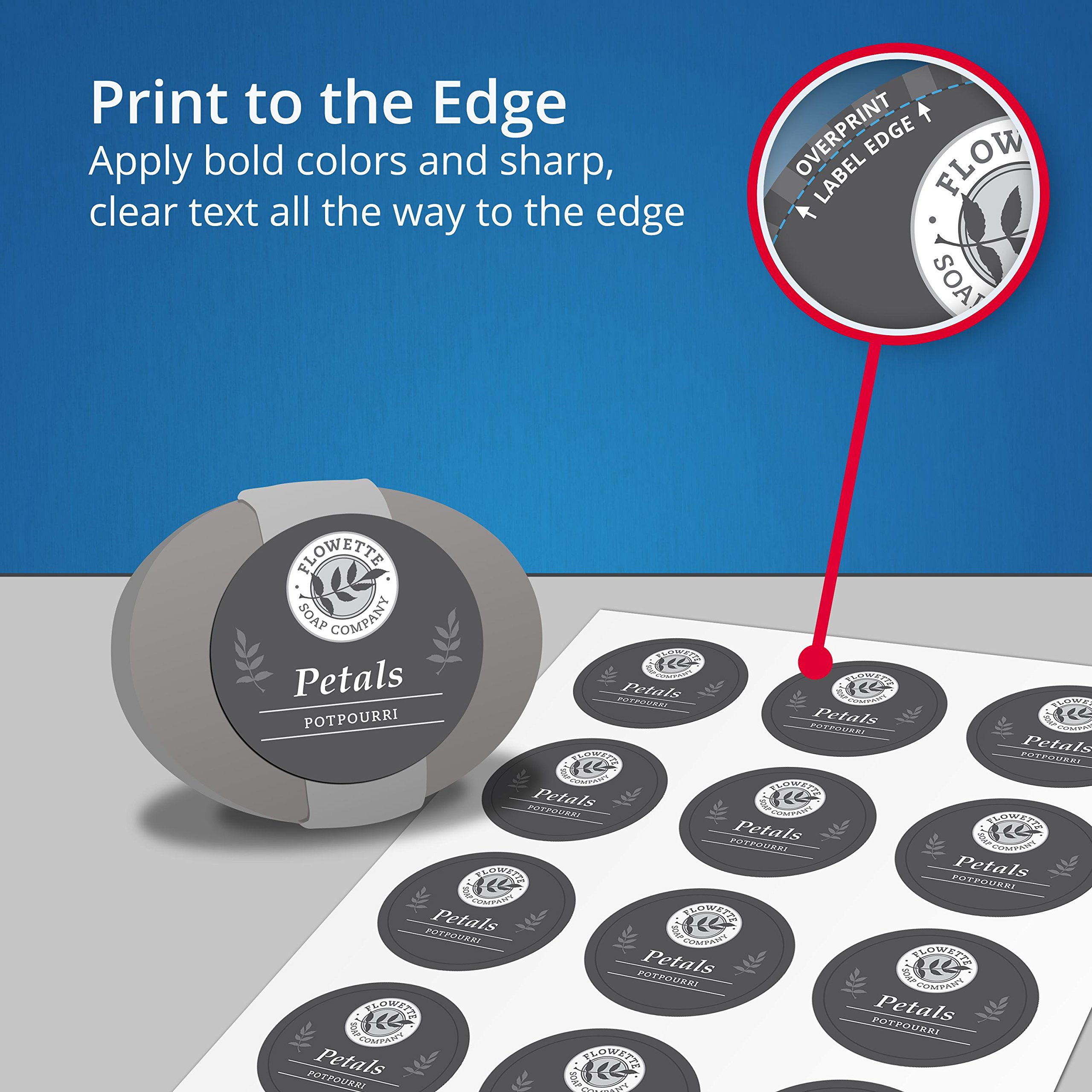 Avery Print to The Edge Round Labels, 2'' Diameter, Matte White, Pack of 300 (22877) by Avery (Image #4)