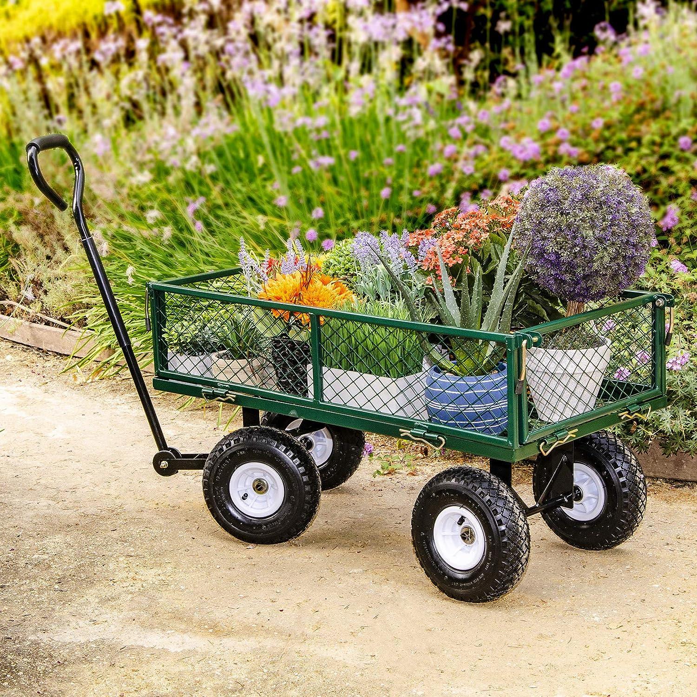 4-Wheel Garden Cart, Removable Sides Utility Wagon