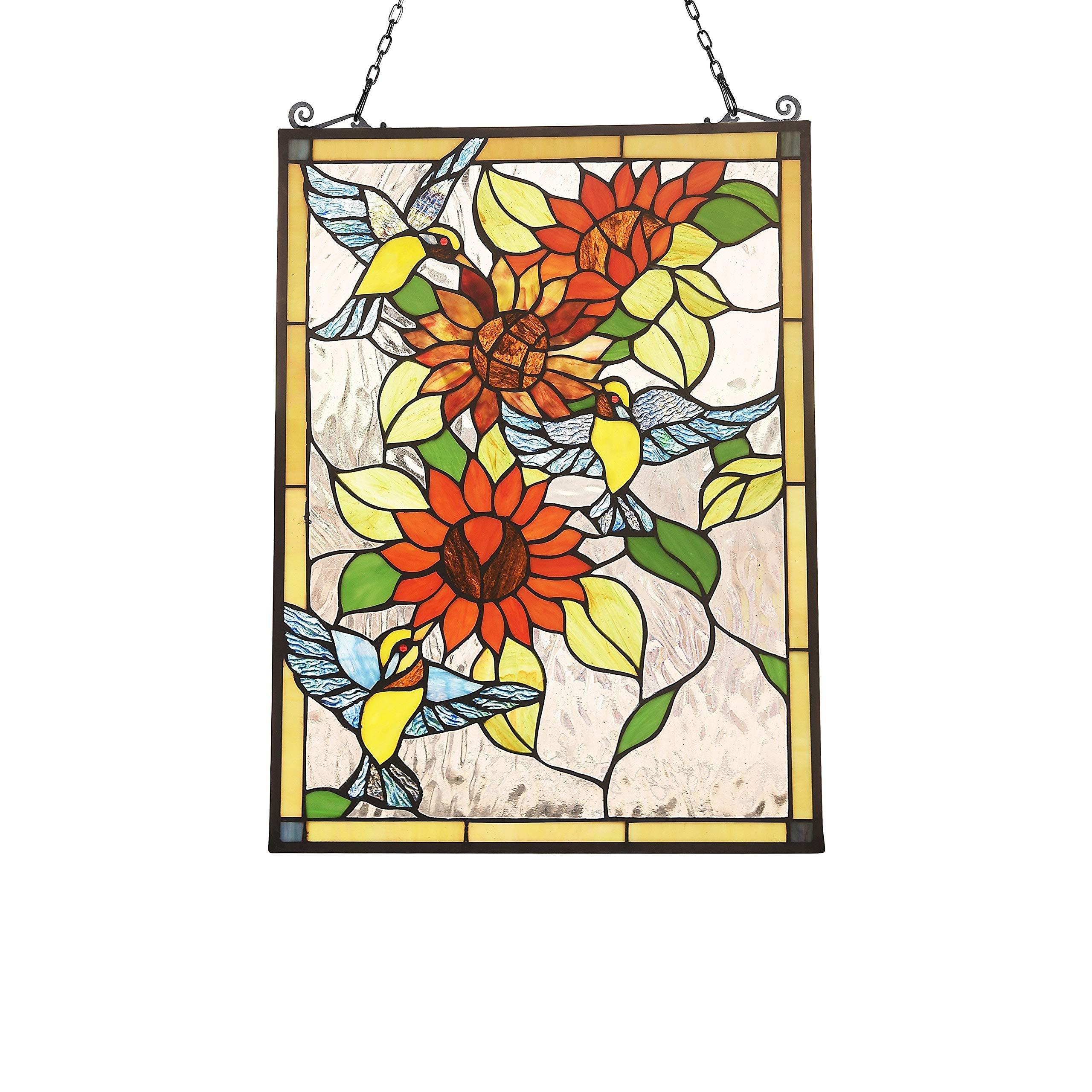 Tiffany Style Bird and Flower Design Suncatcher