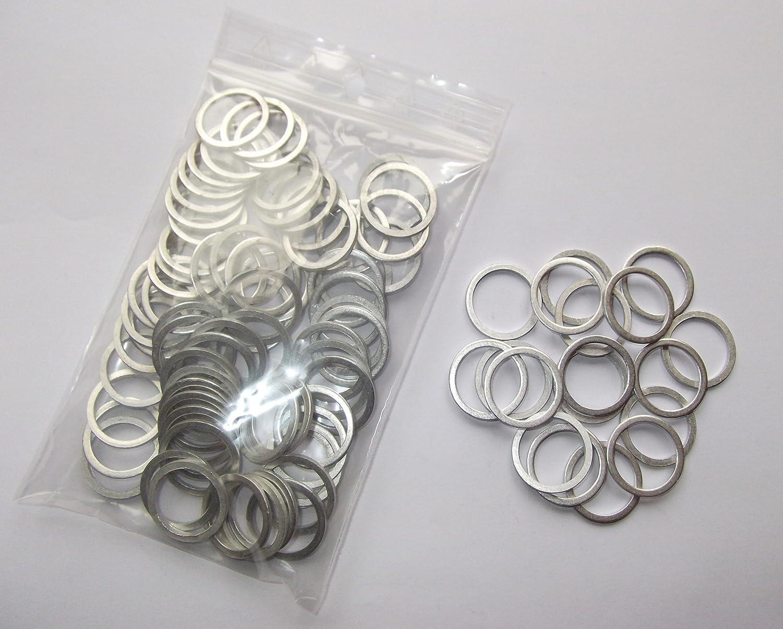100 St/ück Aluminiumringe//Dichtringe//Aluringe 18x22x1,5 mm DIN 7603