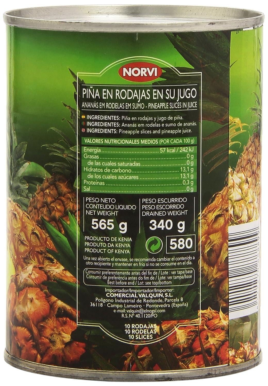 Norvi - Piña natural en su jugo - Sin azúcar añadido - 565 g; 10 rodajas: Amazon.es: Alimentación y bebidas