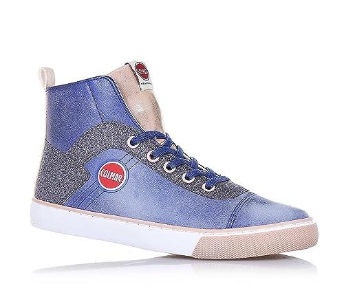 COLMAR - Sneaker blu e rosa in pelle e glitter 3184197d215