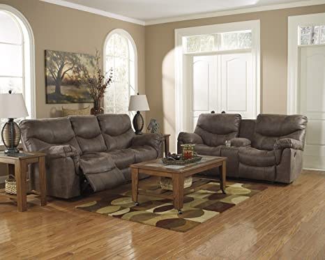 Amazon.com: Alzena Contemporary Gunsmoke Faux-leather Reclining Sofa ...
