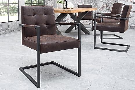 Sedie Vintage Pelle : Dunord design sutton sedia cantilever in pelle stile vintage