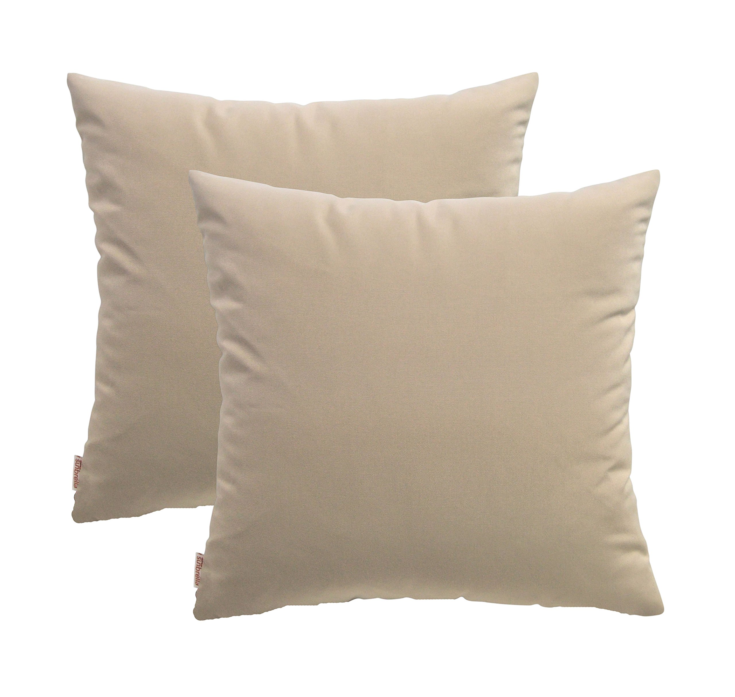 RSH Décor Set of 2 Indoor/Outdoor Decorative Throw Pillows Sunbrella Canvas Canvas Beige/Tan - 24'' x 24''