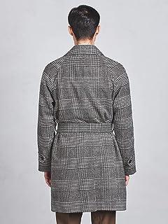 Glen Plaid Belted Bal Collar Coat 1125-199-0125: Grey