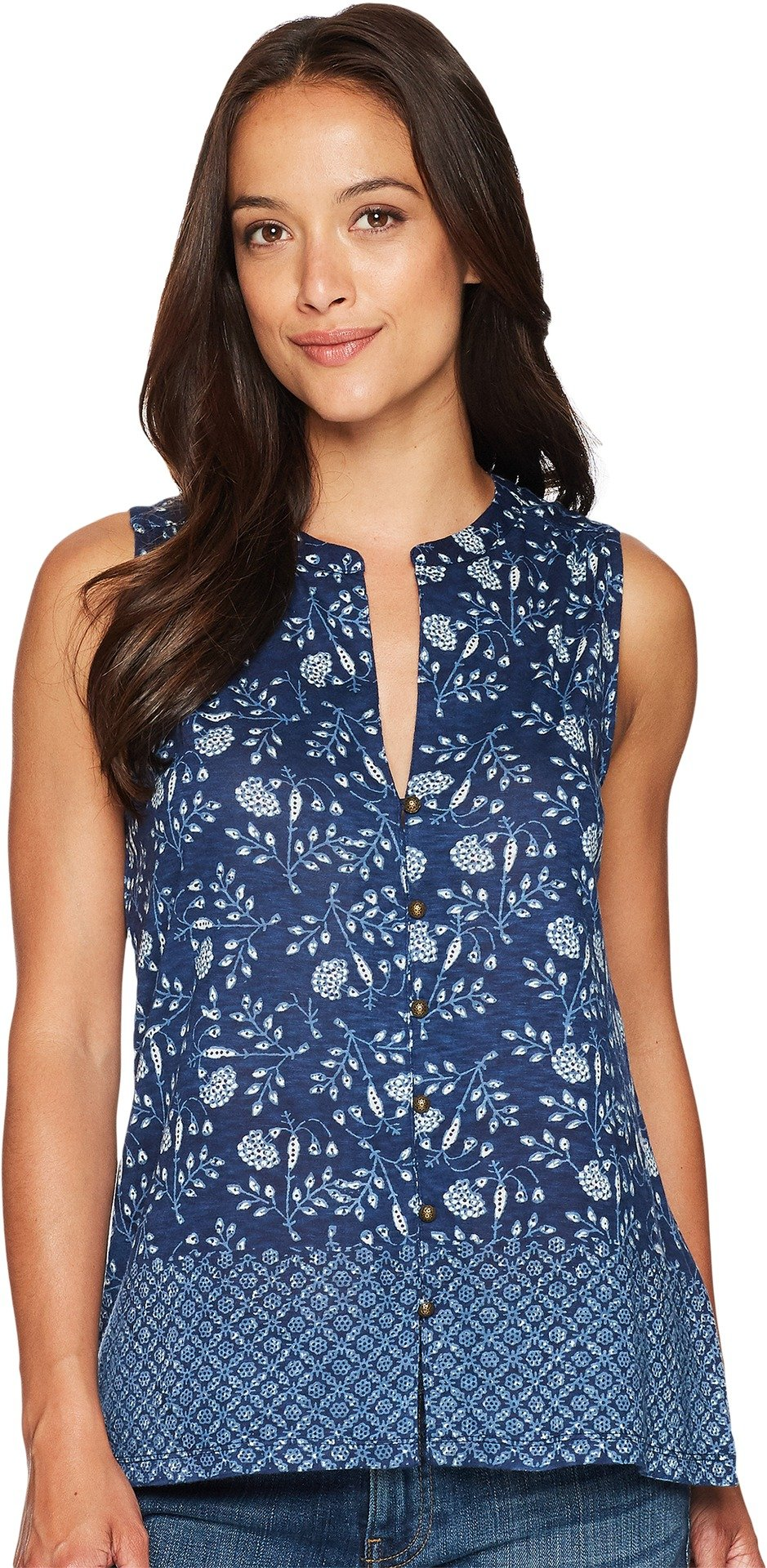 Lucky Brand Women's Border Print Tank Top, Blue/Multi, S