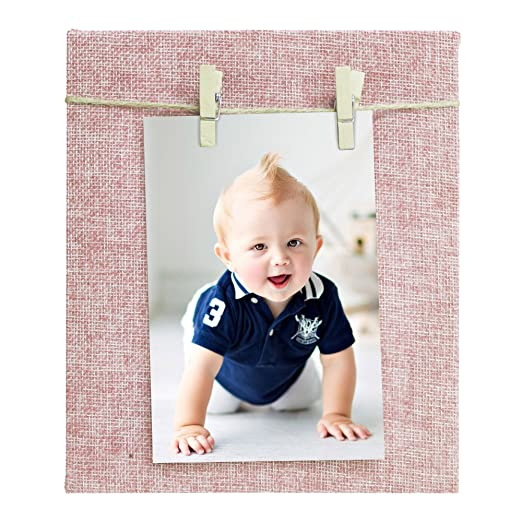 Story@Home Jute Fabric Cover Dual Clip Wooden Photo Frame (20 cm x 17 cm x 2 cm, Pink) Photo Frames at amazon