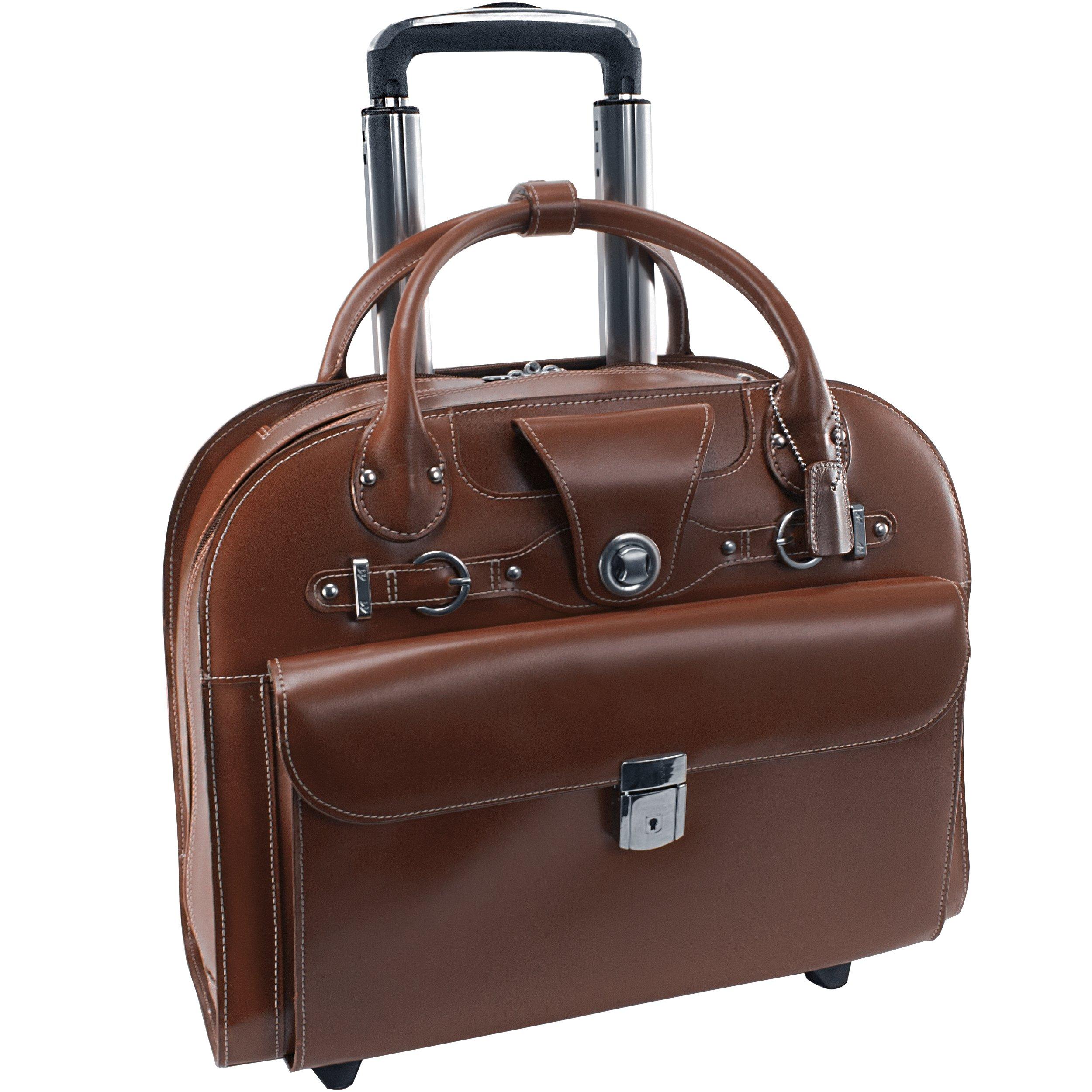 McKlein USA Edgebrook Brown 15.6'' Leather Wheeled Ladies' Laptop Case (96314)