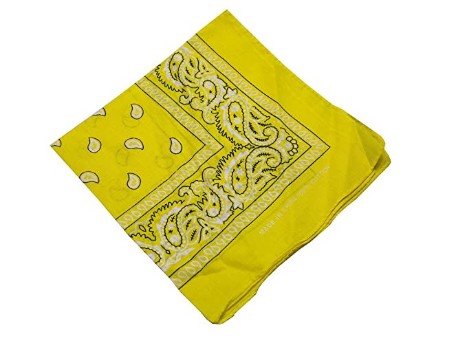 Bandana Kopftuch Tuch 100/% Baumwolle Halstuch Nickituch Paisley gelb Yellow
