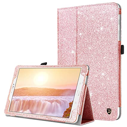 cheap for discount d57ce 9b276 Case for Samsung Galaxy Tab E 9.6, DUEDUE Sparkly Glitter Slim Faux Leather  Folio Stand Full Body Protective Cover for Galaxy Tab E Wi-Fi/Tab E Nook ...