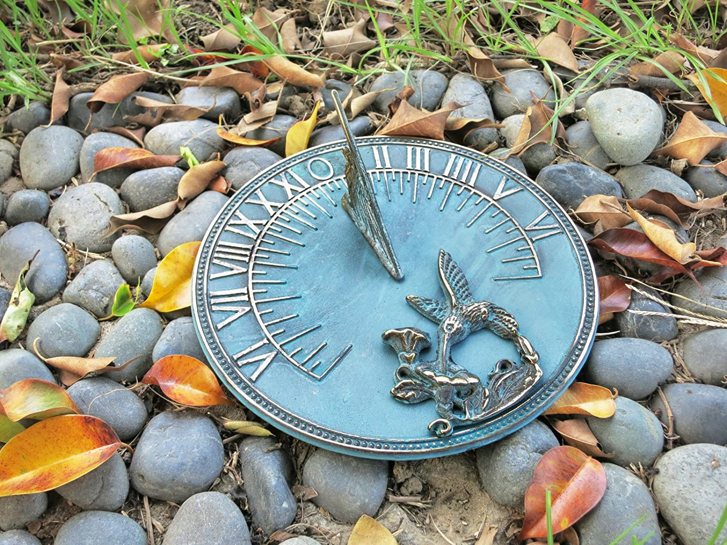 Solid Brass Hummingbird Sundial 8 Inches Wide