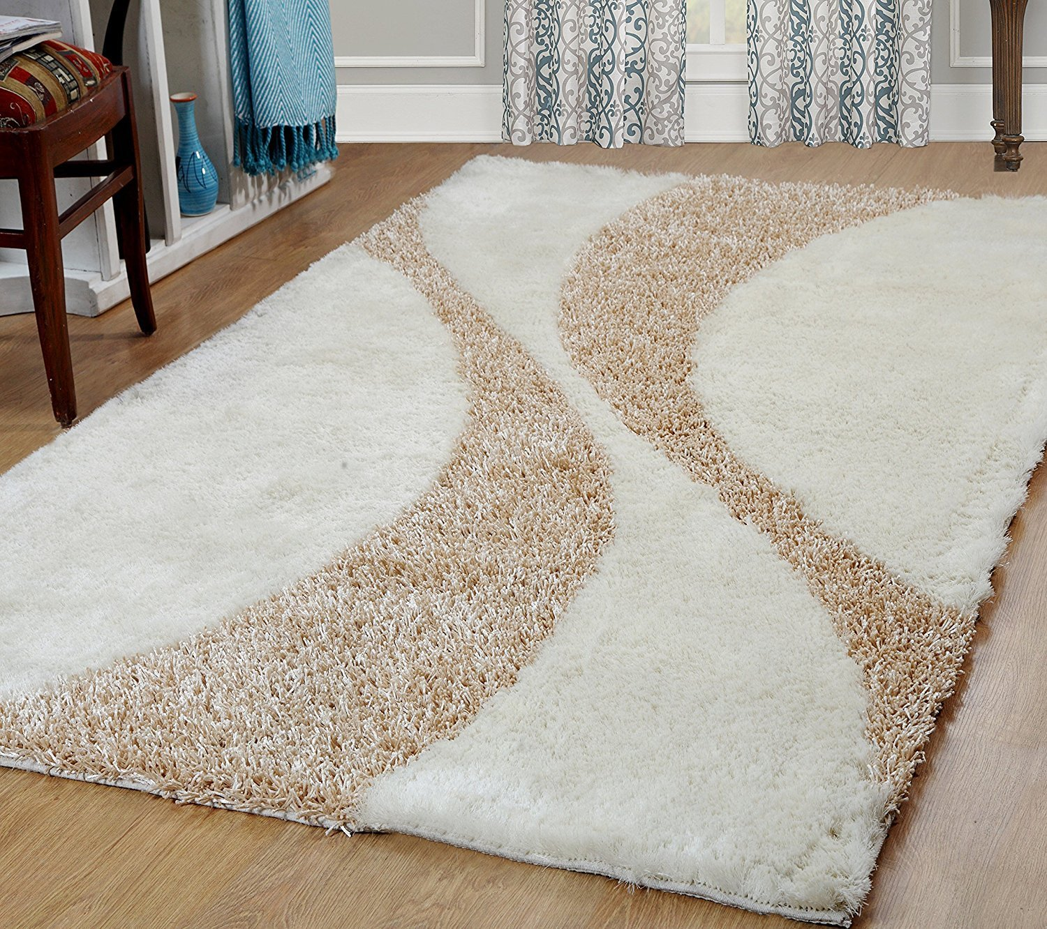 Furnish my Place Hand Woven Soft and Plush Modern Silky Shag Area Shag for Indoor Home Bedroom Living/Dining Room, Aqua Two Tone 815 Furnishmyplace 815 aqua two tone 5x8