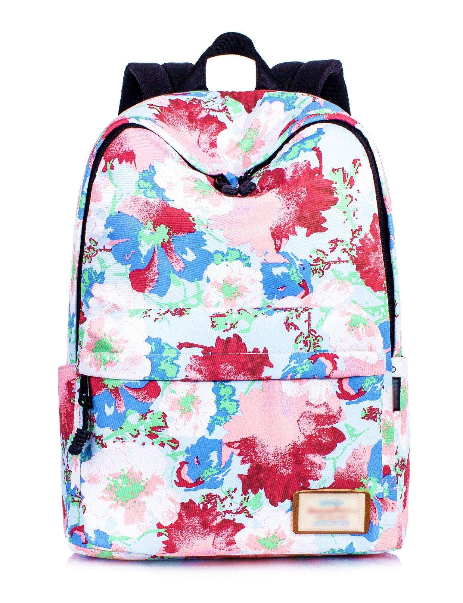 6211d45ebc Galleon - Leaper Stylish Floral Laptop Backpack Women Daypack Travel Bag  Satchel Handbag (Floral Blue)