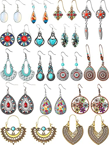 Vintage Turquoise Circle Round Hook Earrings Dangle Drop Bohemia Ethnic Tribal Earrings Ear for Women Girls Jewelry Gift