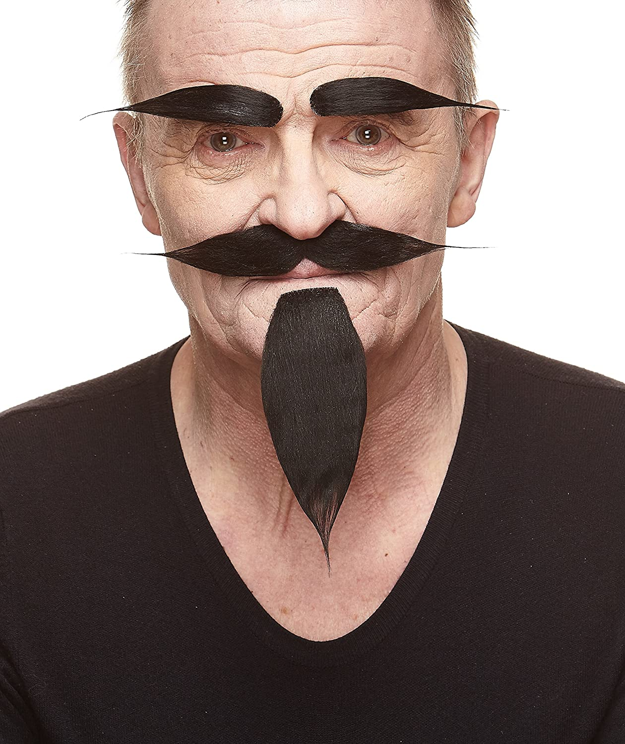 Mustaches Self Adhesive, Novelty, Fake Hairy Russian Beard, and Eyebrows Black Color