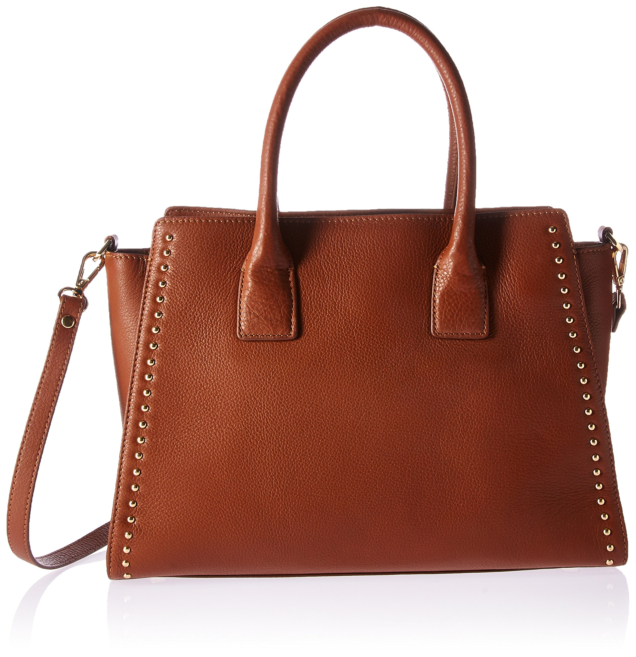 The Fix Audrey Medium Studded Leather Satchel with Top Zip, Cigar