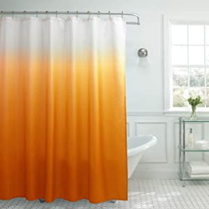 Creative Home Ideas Ombre Textured Shower Curtain with Beaded Rings, Orange