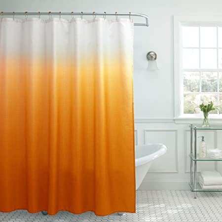Amazon Creative Home Ideas Ombre Textured Shower Curtain With Beaded Rings Orange Kitchen