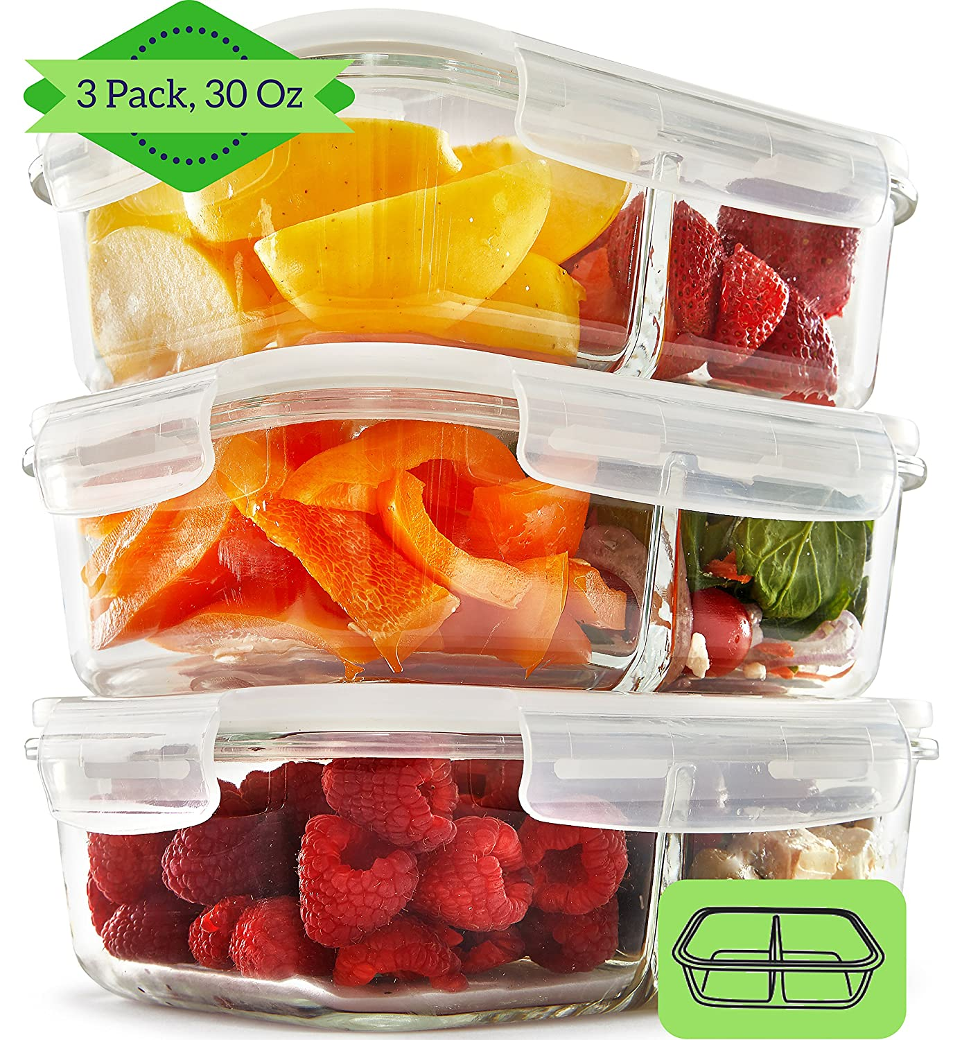 Glass Meal Prep Containers with Lids (3 Pack, 35 Oz) - 2 Compartment Food Prep Containers with Snap Locking Lids | Glass Lunch Containers | Glass Food Storage Containers | Glass Bento Box | Portion Control | Leakproof Fit Strong & Healthy GlassContainerSet