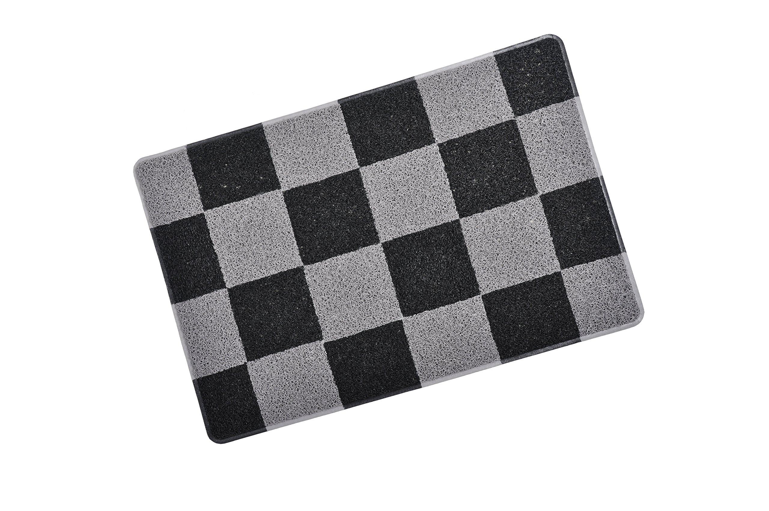 Smartcatcher Checkered Cat Litter Mat Black and Silver