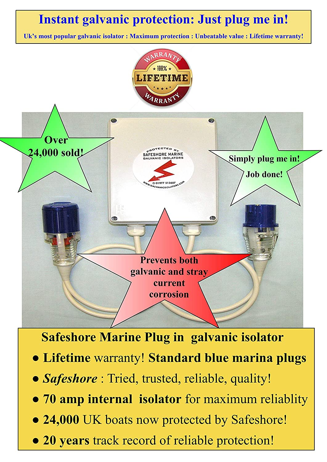 Marine Galvanic Isolator : Simply plug it in to protect your boat! on
